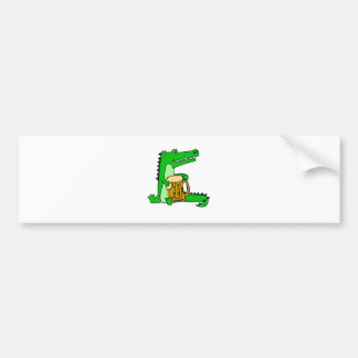 Funny Alligator Drinking Beer Cartoon Bumper Sticker