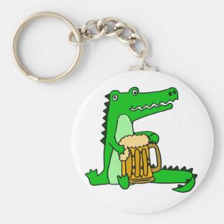 Funny Alligator Drinking Beer Cartoon Key Ring