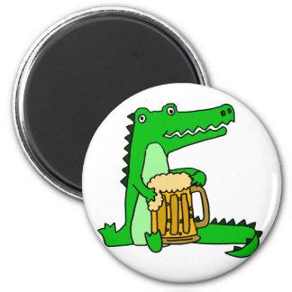 Funny Alligator Drinking Beer Cartoon Magnet