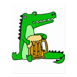 Funny Alligator Drinking Beer Cartoon Postcard