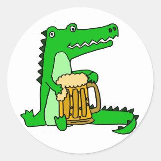 Funny Alligator Drinking Beer Cartoon Round Sticker