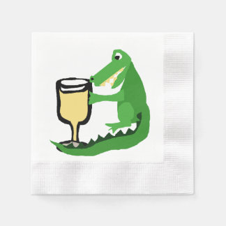 Funny Alligator Drinking Glass of White Wine Disposable Serviettes