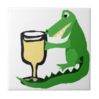 Funny Alligator Drinking Glass of White Wine Tile