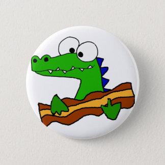 Funny Alligator Eating Bacon Artwork 6 Cm Round Badge