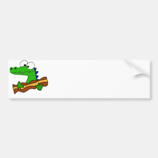 Funny Alligator Eating Bacon Artwork Bumper Sticker