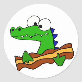 Funny Alligator Eating Bacon Artwork Classic Round Sticker