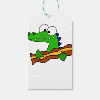 Funny Alligator Eating Bacon Artwork Gift Tags