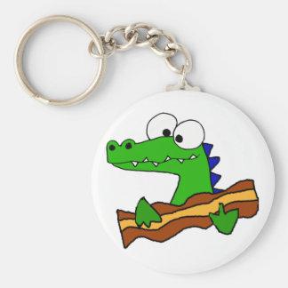 Funny Alligator Eating Bacon Artwork Key Ring