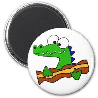 Funny Alligator Eating Bacon Artwork Magnet