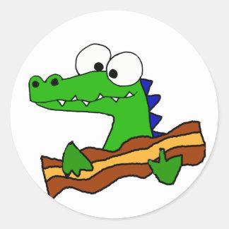Funny Alligator Eating Bacon Artwork Round Sticker