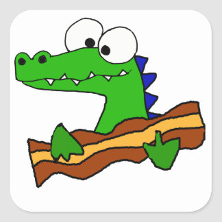 Funny Alligator Eating Bacon Artwork Square Sticker