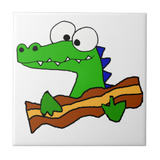 Funny Alligator Eating Bacon Artwork Tile