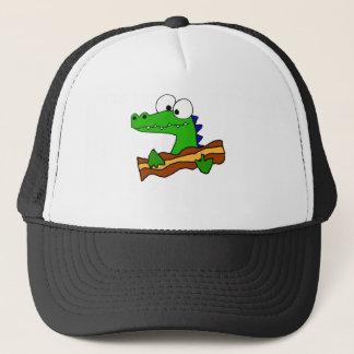 Funny Alligator Eating Bacon Artwork Trucker Hat