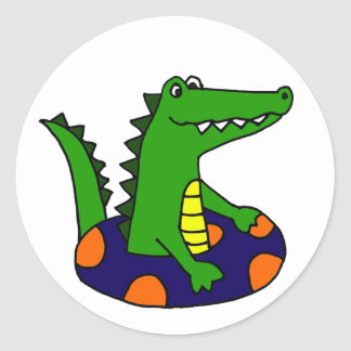 Funny Alligator in Inner Tube Classic Round Sticker