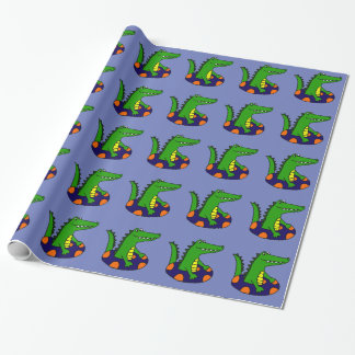 Funny Alligator in Inner Tube Wrapping Paper