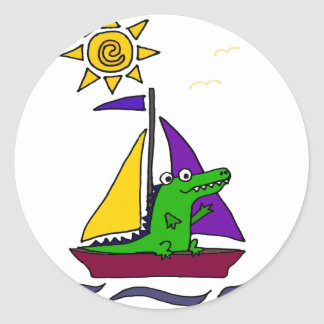 Funny Alligator on Colorful Sailboat Classic Round Sticker
