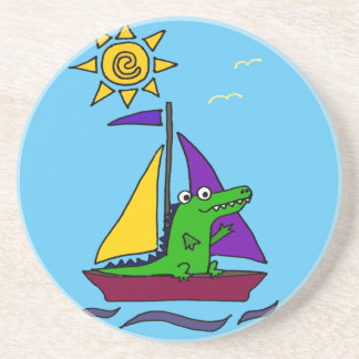 Funny Alligator on Colorful Sailboat Coasters