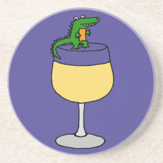 Funny Alligator on Wine Glass Coaster