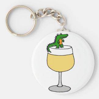Funny Alligator on Wine Glass Key Ring