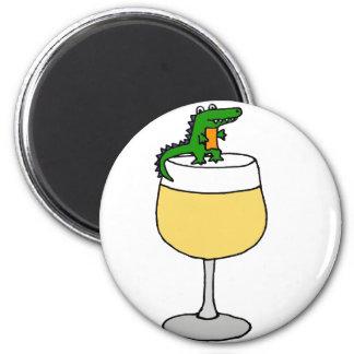 Funny Alligator on Wine Glass Magnet