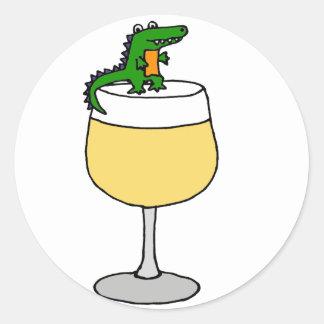 Funny Alligator on Wine Glass Round Sticker