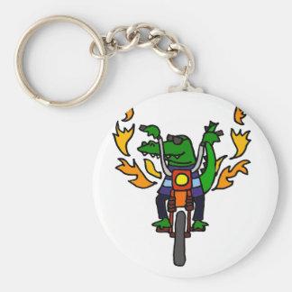Funny Alligator Riding Motorcycle Key Ring