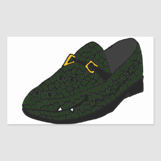 Funny Alligator Shoe Art Rectangular Sticker