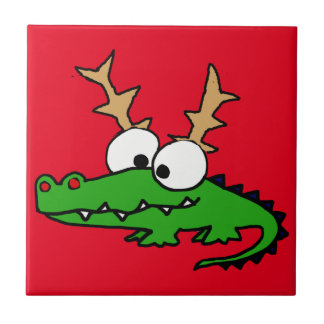 Funny Alligator with Antlers Christmas Art Ceramic Tile