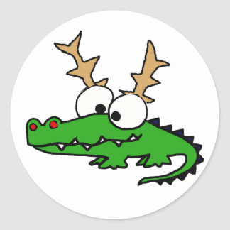 Funny Alligator with Antlers Christmas Art Classic Round Sticker