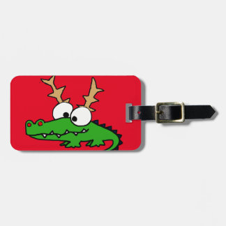 Funny Alligator with Antlers Christmas Art Luggage Tag