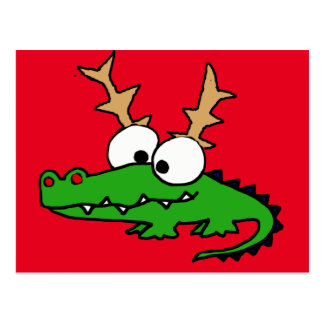 Funny Alligator with Antlers Christmas Art Postcard