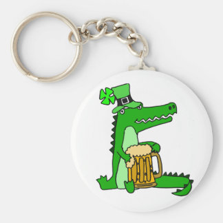 Funny Alligator with Beer St. Patrick's Day Art Key Ring