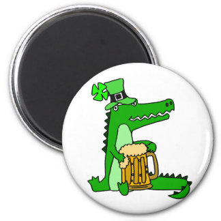 Funny Alligator with Beer St. Patrick's Day Art Magnet