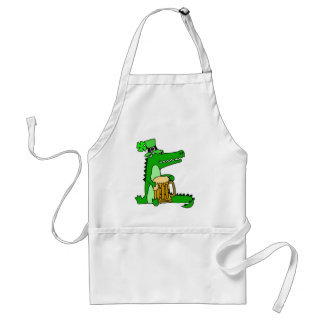 Funny Alligator with Beer St. Patrick's Day Art Standard Apron