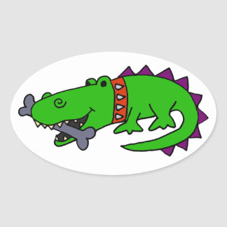 Funny Alligator with Spiked Collar and Dog Bone Oval Sticker