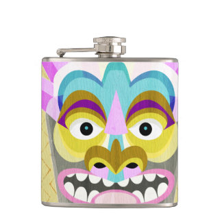 Funny Aloha Tiki Hut Monster Hip Flask