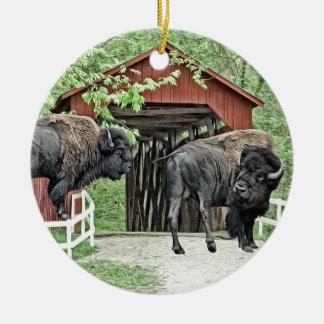 Funny American Bison At The Covered Bridge Ceramic Ornament