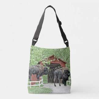Funny American Bison At The Covered Bridge Crossbody Bag