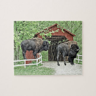 Funny American Bison At The Covered Bridge Jigsaw Puzzle