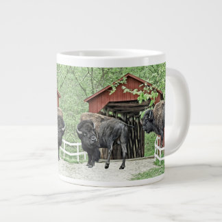 Funny American Bison At The Covered Bridge Large Coffee Mug