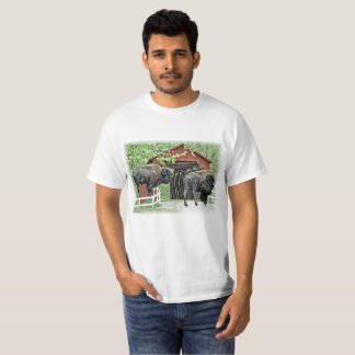 Funny American Bison At The Covered Bridge T-Shirt