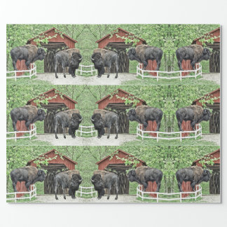 Funny American Bison At The Covered Bridge Wrapping Paper