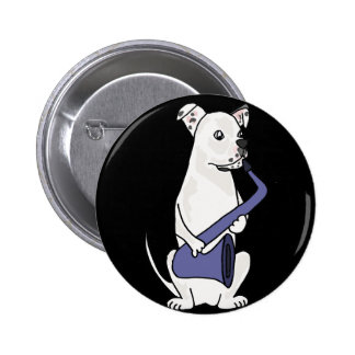 Funny American Bulldog Playing Saxophone 6 Cm Round Badge
