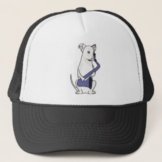 Funny American Bulldog Playing Saxophone Trucker Hat
