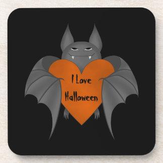 Funny amorous Halloween vampire bat Beverage Coaster