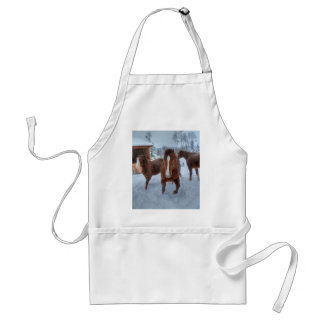 Funny Amorous Stallion and Reluctant Mare Horses Standard Apron