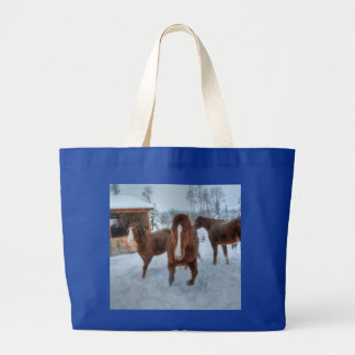 Funny Amorous Stallion and Reluctant Mare Horses Jumbo Tote Bag
