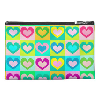 funny and colorful hearts travel accessory bag