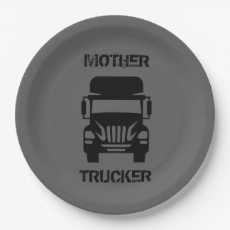 Funny and cool Mother Trucker by Storeman Paper Plate