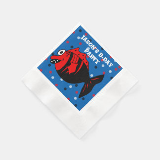 Funny and cute black and red fantasy fish paper serviettes